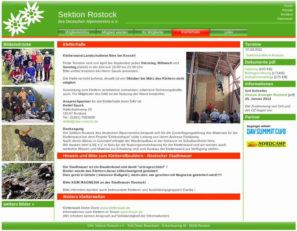 Screenshot der Homepage des DAV Sektion Rostock